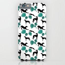 Greyt Greyhound Monstera on White iPhone Case