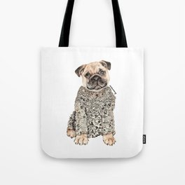 Pug Zentangle Doodle Black and White Pen Realistic Drawing Tote Bag