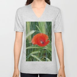 The Red Poppy in the Field Unisex V-Neck