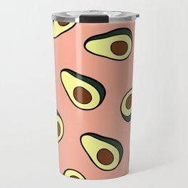 Avocado Pattern in Pink Travel Mug