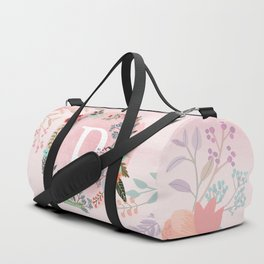 Flower Wreath with Personalized Monogram Initial Letter P on Pink Watercolor Paper Texture Artwork Duffle Bag