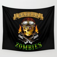 zombies Wall Tapestries featuring Badass Zombies by Ferguccio