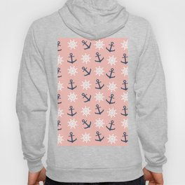 Nautical coral navy blue anchor and wheel pattern Hoody