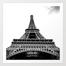 Eiffel Tower in Paris, Black and White (France, Europe) Art Print