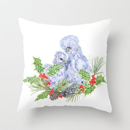 Silkie Chickens - White Christmas Throw Pillow