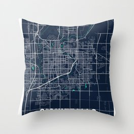 Sioux Falls Blue Dark Color City Map Throw Pillow
