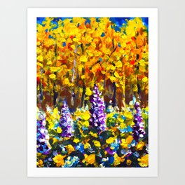 Painting Flowers in Golden Autumn Forest by Rybakow Art Print