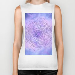 Waterolor Mandala FLower Biker Tank