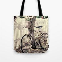 bike Tote Bags featuring bike  by Beverly LeFevre