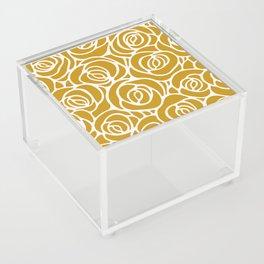 Mustard Roses Pattern Acrylic Box