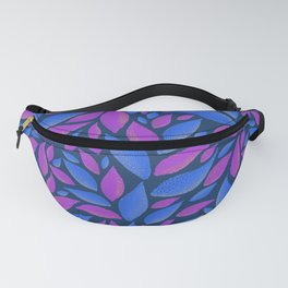 Blue and pink sparkly leaves pattern Fanny Pack