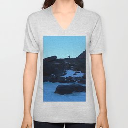 Watercolor People in Nature, IS, Adult 04, Chasm Lake Trail, RMNP, Colorado Unisex V-Neck