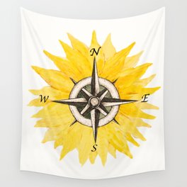 Compass  Sunflower Wall Tapestry