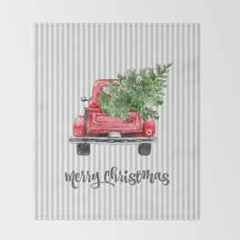 Red Truck With Christmas Tree Throw Blanket