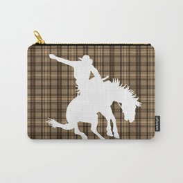 Cowboy and Bronco Plaid Carry-All Pouch