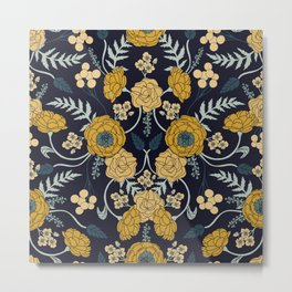 Navy Blue, Turquoise, Cream & Mustard Yellow Dark Floral Pattern Metal Print