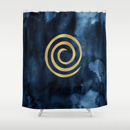 Infinity Navy Blue And Gold Abstract Modern Art Painting Shower Curtain