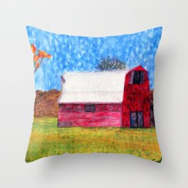 Watercolor Red Barn Throw Pillow
