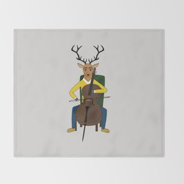 Deer playing cello Throw Blanket