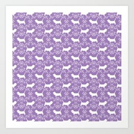 Basset Hound floral silhouette dog pattern minimal purple and white pet portraits Art Print