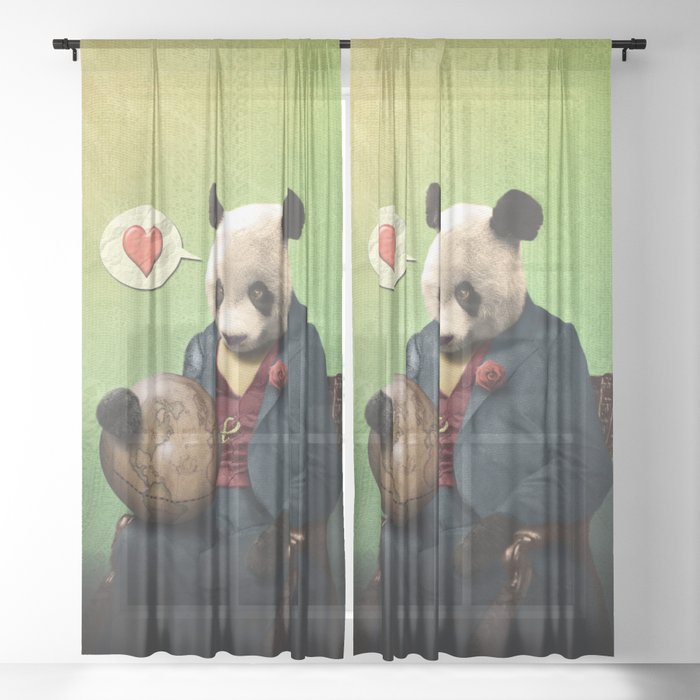 Wise Panda: Love Makes the World Go Around! Sheer Curtain