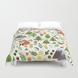 Scandinavian Style Illustrations on Cream Pattern Duvet Cover