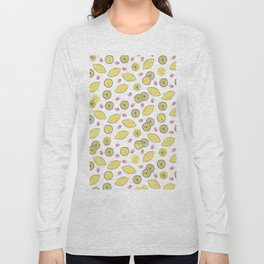 Modern sunshine yellow red lemon berries fruit pattern Long Sleeve T-shirt