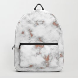 Rose gold gray and white marble Backpack
