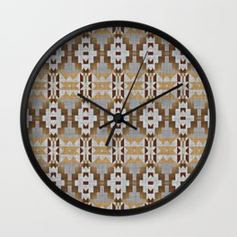 Brown Gray Tribal Kilim Mosaic Pattern Wall Clock