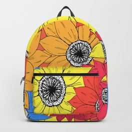 Multicoloured Sketch Sunflowers Illustrated Pattern Backpack