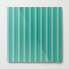 Tanager Turquoise, Teal Blue and Kelly Green Repeat Striped Pattern Metal Print