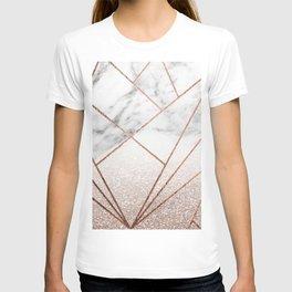 Rose glitter rising geo T-shirt