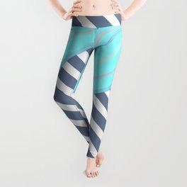 Nautical Blue Pink White Wave Stripes Pattern Leggings