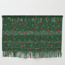 Holly Leaves and Berries Pattern in Dark Green Wall Hanging