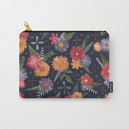 bright floral pattern on navy Carry-All Pouch
