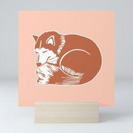 Sleeping Copper Brown Husky Mini Art Print