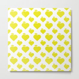 Crown Heart Pattern Yellow Metal Print