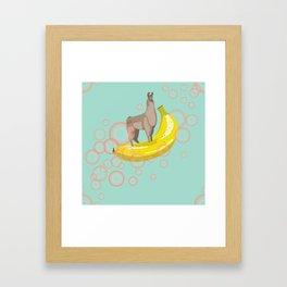 Confident Banana Llama Framed Art Print