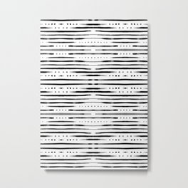 B&W Shibori Metal Print