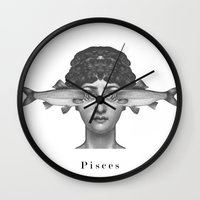 pisces Wall Clocks featuring Pisces by A.M.