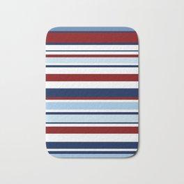 Nautical Stripes - Blue Red White Bath Mat