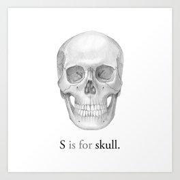 S is for skull Art Print