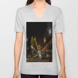 Arc de Triomphe and Champs Elysees Unisex V-Neck