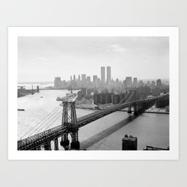 Williamsburg Bridge, East River at South Sixth St. & Twin Towers, New York City skyline photograph Art Print