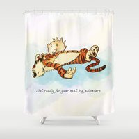 calvin Shower Curtains featuring Calvin Rests for Big Adventure by WimpyGeek Art