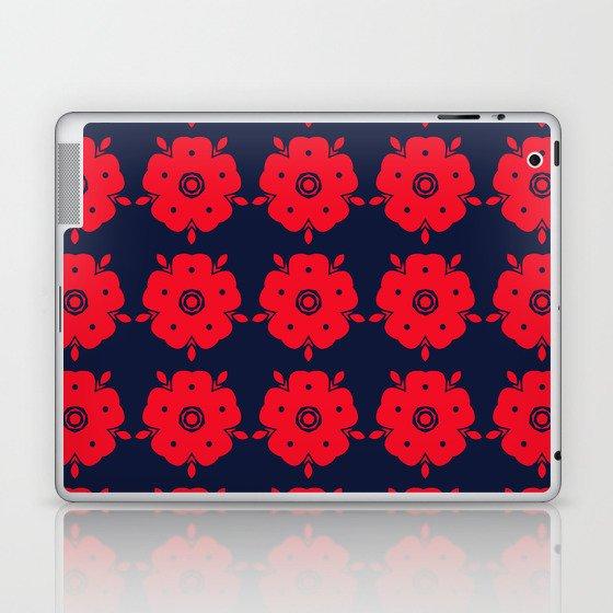 Japanese Samurai flower red pattern Laptop & iPad Skin