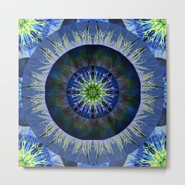 Mandala in Blue and Yellow Metal Print