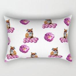 Funky Fox and Roses Rectangular Pillow