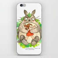 miyazaki iPhone & iPod Skins featuring Miyazaki Hug by Super Group Hugs