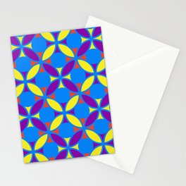 Geometric Floral Circles Vibrant Color Challenge In Bold Red Yellow Purple & Blue Stationery Cards